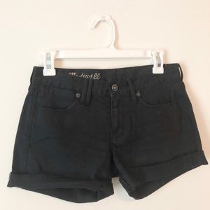 Madewell | 24 | 2 | black denim shorts | raw edge